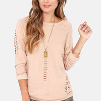 Obey Jezebel Clay Brown Slashed Sweater