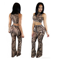 Vintage Print Crop Top Bell Bottom Pants Set