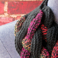 Unique Braided Cowl Scarf, Spring Scarf, Button Cowl, Layered Infinity Scarf, Bib Scarf