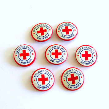Red Cross Pin Swimming Lessons Vintage Pinback Button Red White Blue Instant Collection Summer Fun