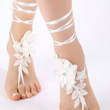 Free Ship ivory floral lace Barefoot Sandals, french lace, Nude shoes,Beach wedding barefoot sandals, Bridesmaid barefoot sandals