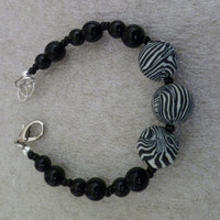 Beaded Zebra Adjustable Bracelet, Beaded Bracelet, Black Beaded Bracelet, Zebra Bracelet