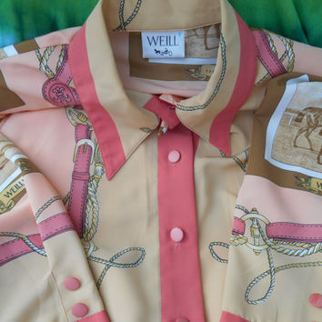 Vintage WEILL Paris Equestrian Blouse Pastel Pink Blouse Vintage French Horses Blouse Fleur de Lys Made in France Medium Large
