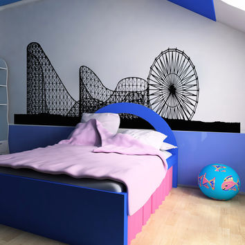 Vinyl Wall Decal Sticker Ferris Wheel and Roller Coaster #OS_AA1051