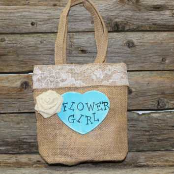 Flower Girl Bag - Burlap Tote Bag - Turquoise Bag - Small Burlap Bag