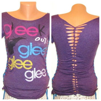 Glee Upcycled Cut Up Shirt // Refashioned T-shirt // Size Small