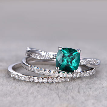 Emerald Engagement Ring Set Diamond Matching Band White Gold Infinity Twisted Thin Stacking 14K/18K