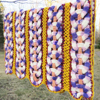 "Pretty crochet shawl afghan in interlocking rings in yellow purple lavender peach red and white - Vintage afghan 72"" x 24"""
