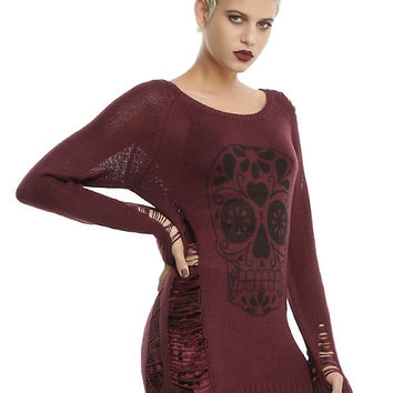 Burgundy & Black Sugar Skull Destructed Girls Sweater