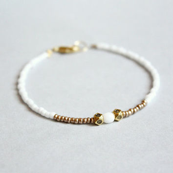 snow  dainty beaded bracelet  white and bronze ethnic by PetiteCo