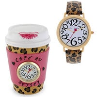 Betsey Johnson Watch and Clock Set, Women's Leopard Printed Leather Strap 39mm BJ00203-04 - Women's Watches - Jewelry & Watches - Macy's