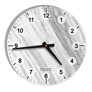 "White Marble Pattern 8"" Round Wall Clock with Numbers All Over Print by TooLoud"