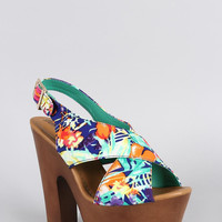 Breckelle Floral Criss Cross Slingback Heel Color: Multi, Size: 6.5