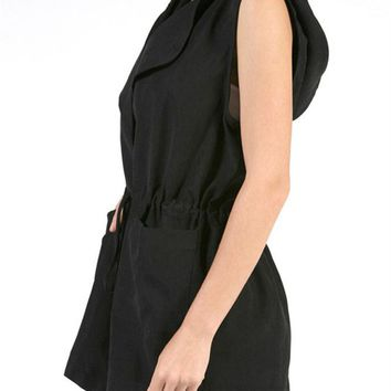 Drawstring Waist Hooded Vest Drape Open Front Sleeveless Jacket Outwear