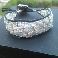 Silver-White-Clear Seed Bead and Leather Cuff