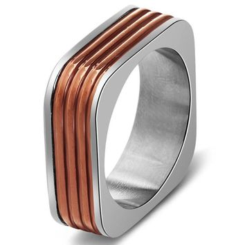 Square Titanium Steel Ring Men Minimalism Simple antique brass Mens Fashion Finger Hip Hop Ring Men