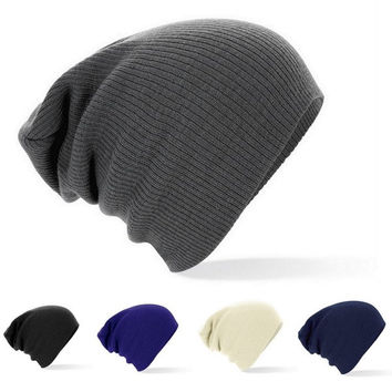 New Winter Beanies Solid Color Hat Unisex Plain Warm Soft Beanie Skull Knit Cap Hats Knitted Touca Gorro Caps For Men Women = 1958350148