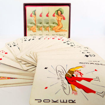 1950s Pinup Playing Cards - Gil Elvgreen Pin Up Artist - Brown & Bigelow Chicago Advertising Gift Set in Leather Case - Nudes