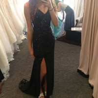 Black Side Slit Sparkly Long Prom Dresses Evening Dresses