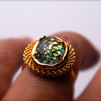 Adjustable Vintage Ring with Oval Snakeskin Mosaic Glass Cabochon