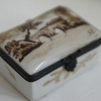 Rare Limoges Porcelain Jewelry Box Original Hinged Landscape Design