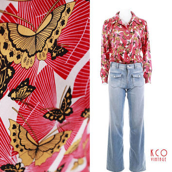 "Vintage Silk Blouse Butterfly Print Red Yellow B&W 1970's Clothing Women's Size S-M / Collared Button Down Shiny Asian Retro Monarch 42""Bust"