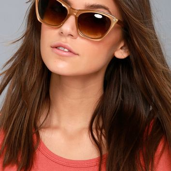 Melanie Light Brown Cat-Eye Sunglasses