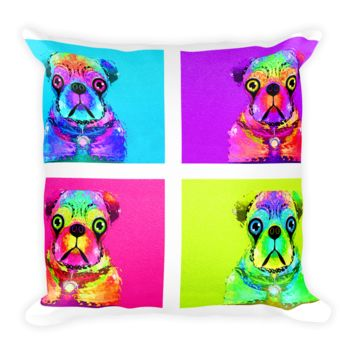 The Many Faces of Pug by Fernando Palma Square Pillow