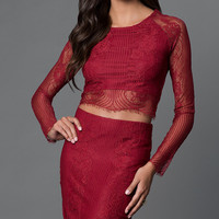Two Piece Long Sleeve Lace Party Dress