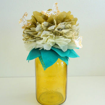 Mason Jar Centerpieces Gold Paper Flower and Butterflies A Tissue Pom Party Decor