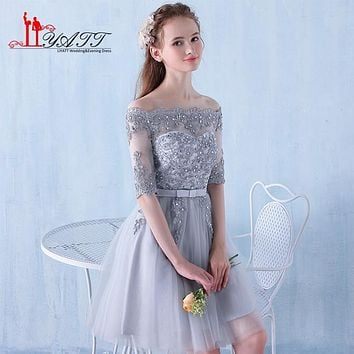 Stock Cheap Short Bridesmaid Dresses Gray Tulle Boat Neck Party Pegeant Formal Gown Kids Half Sleeve Wedding Party Dress ZY074
