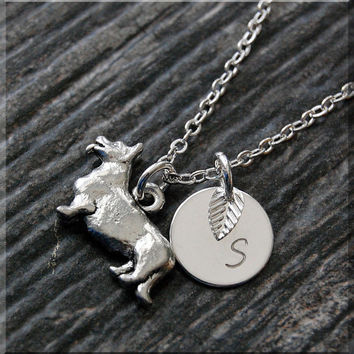 Silver Welsh Corgi Charm Necklace, Initial Charm Necklace, Personalized, Dog Lover Charm, Corgi Pendant,  Welsh Corgi Dog Charm Jewelry