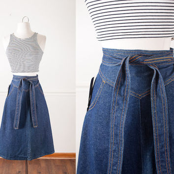 Vintage Denim Wrap Skirt | Blue Jean Skirt High Waisted Skirt MIDI Skirt Boho Chic 70s Skirt Dark Wash Denim Skirt Wrap Around Skirt Mod
