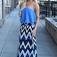 50 Shades of Blue Maxi Skirt