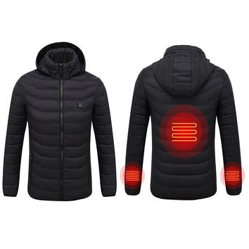 New Winter Warm Heating Jackets Men Women Smart Thermostat Pure Color Hooded Heated Clothing Skiing Hiking Coats