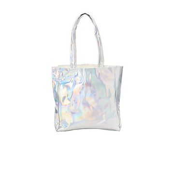Patent Holographic Tote Bag | Charlotte Russe