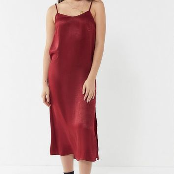 Urban Renewal Remnants Satin Side Slit Midi Slip Dress | Urban Outfitters