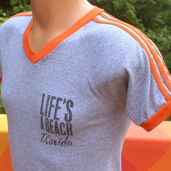vintage 70s ringer t-shirt life's a BEACH florida v-neck Small XS gators