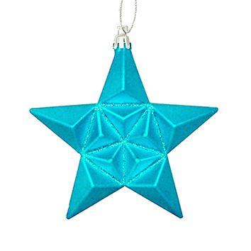 12ct Matte Turquoise Blue Glittered Star Shatterproof Christmas Ornaments 5""