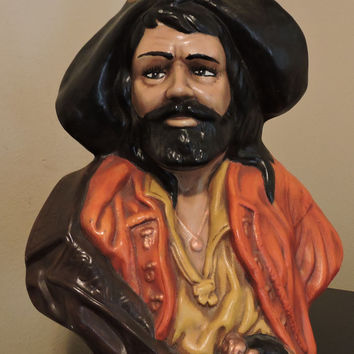 Vintage Ceramic Bearded Pirate Bust  Bust Head Statue Bust by Holland Mold Black Beard Spanish Pirate