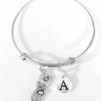 Adjustable Bangle Charm Bracelet Stethoscope Initial Gift Nurse Medic Pharmacy