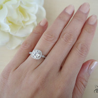 1.25 Carat Halo Vintage Inspired Engagement Ring, Flawless Man Made Diamonds, Art Deco, Wedding, Bridal, Promise Ring, Sterling Silver