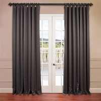 Half Price Drapes BOCH-201403-96-DW Charcoal 96 x 100-Inch Double Wide Blackout Curtain Single Panel