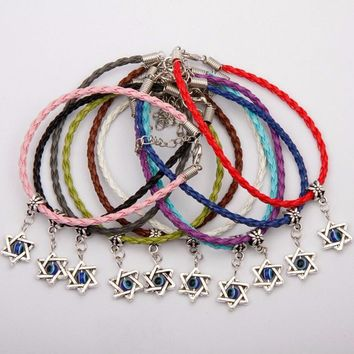 Set of 50 pcs Kabbalah Star & Evil Eye Charm Braided Bracelets
