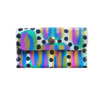 Pattern Coin Purse, Blue and Gold Wallet, Small Abstract Art Bag | Boo and Boo Factory - Handmade Leather Jewelry