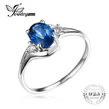 JEWELRYPALACE OVAL 0.9CT NATURAL LONDON BLUE TOPAZ SOLITAIRE ENGAGEMENT RING 925 STERLING SILVER GEMSTONE TREND ACCESSORIES