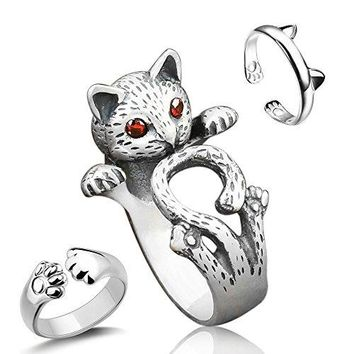Sharkleap 3 Pieces Sterling Silver Cat Rings Kittys Paw Ear Ring Set