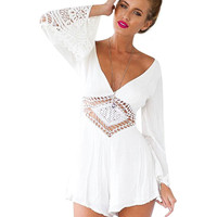 Lace Beach Romper With Batwing Sleeve