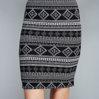 Geo Diamond Striped Midi Skirt | Wet Seal