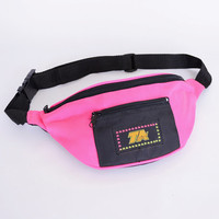 Neon Fanny Pack Neon Pink Fanny Pack Hot Pink Fannypack Pink & Black Hip Waist Travel Bag 80s Fanny Pack 90s Fanny Pack New Wave Men Women